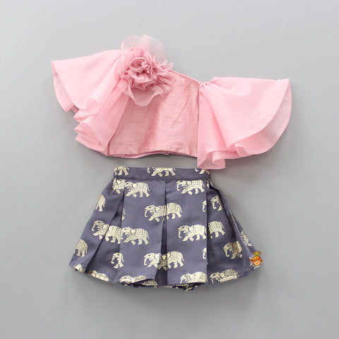 Pre Order: Pink Top And Grey Skirt With Golden Elephant Print