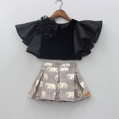 Pre Order: Black Top And Grey Skirt With Golden Elephant Print