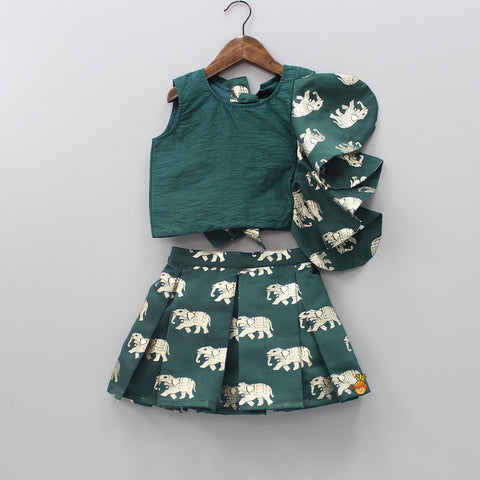 Pre Order: Dark Green Pleated Elephant Print Short Skirt With Top