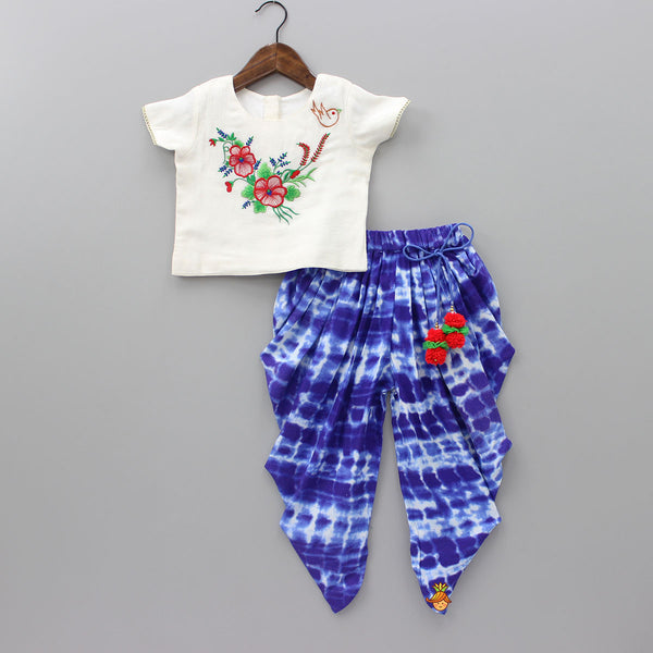 Pre Order: White Top And Blue Dhoti Set