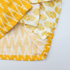 Pre Order: Yellow Ikkat Kurti With Printed Drape