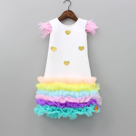 Pre Order: White Dress With Ruffles And Golden Hearts