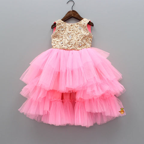 Pink And Golden Up And Down Gown