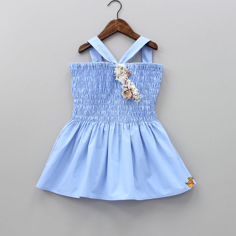 Pre Order: Light Blue Sleeveless Smocking Organic Dress