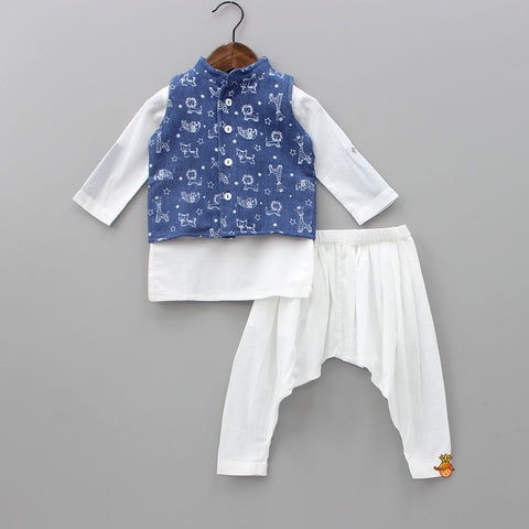 Organic White Kurta And Pyjama Set
