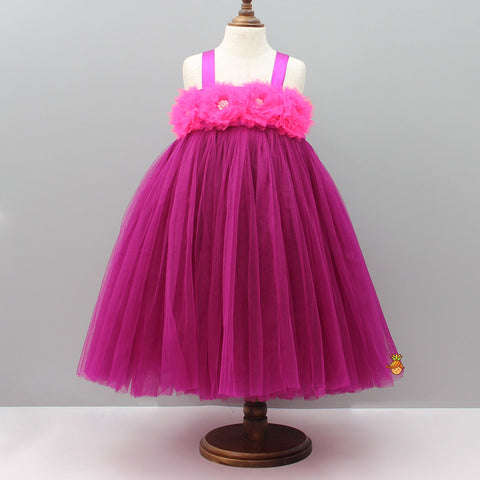 Pre Order: Magenta Tutu Gown With Handmade Pink Flowers