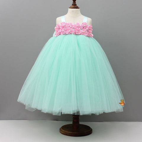 Pre Order: Mint Green Tutu Gown With Handmade Pink Flowers