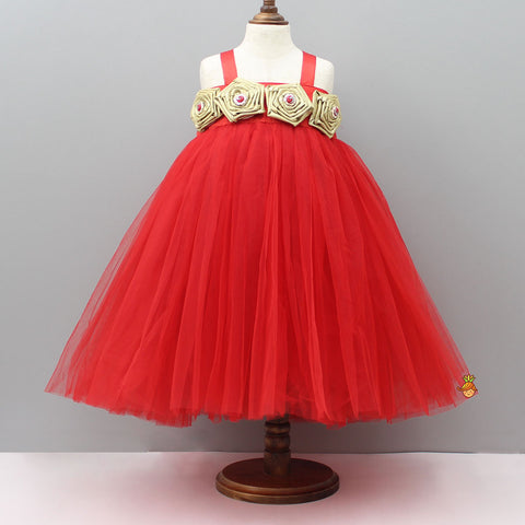 Pre Order: Red Tutu Gown With Handmade Golden Rose Flowers