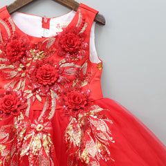 Red Flowery Sequin Party Dress