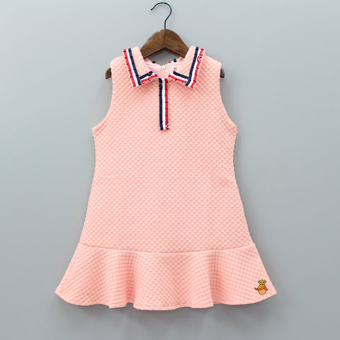 Peach Stripy Collar Knee Length Dress