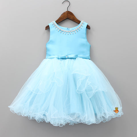 Blue Frilly Diamond Knee Length Dress