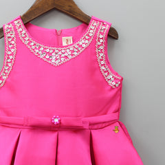 Hot Pink Beads And Sequin Knee Length Dress