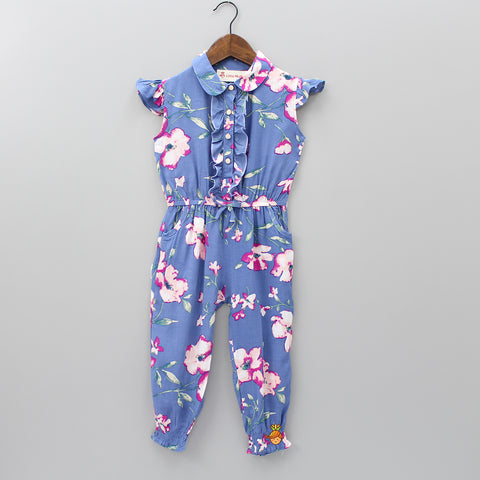 Dark Blue Floral Print 3/4th Length Jumpsuit
