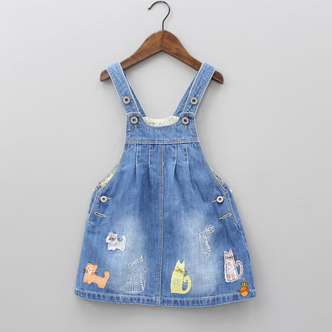 Cat Embroidered Patch Thigh Length Dungaree Dress