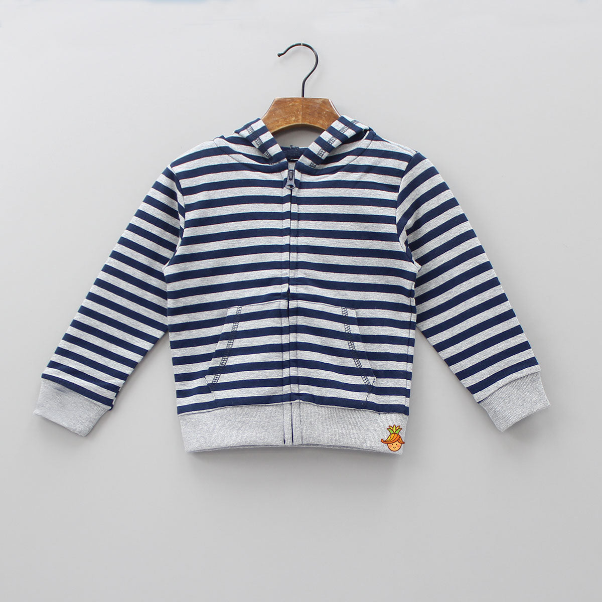Grey And Navy Blue Striped Hoodie