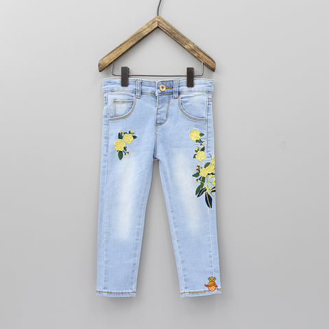 Light Blue Denim Jeans With Embroidery