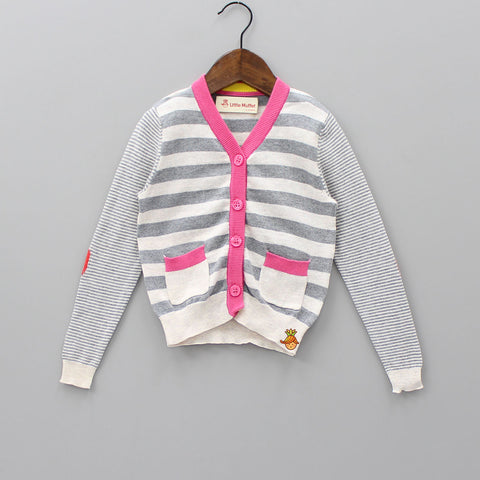 Grey And Off-White Striped Sweater