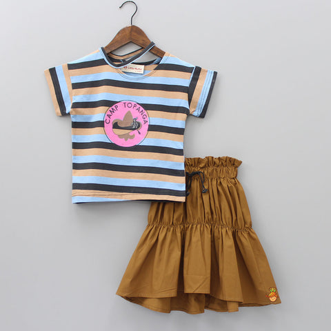 Stylish Stripy Top and Frilly Skirt