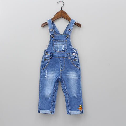Blue Ripped Denim Dungaree