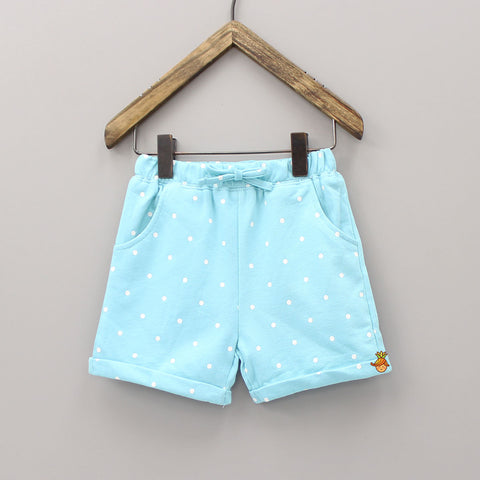 Blue Polka Print Shorts
