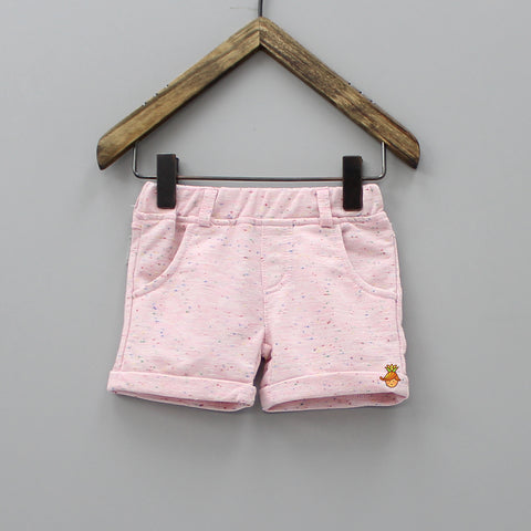 Pink Short With Colourful Dotted Print