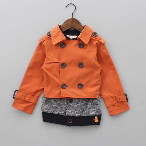 Sweater Attached With Orange Jacket