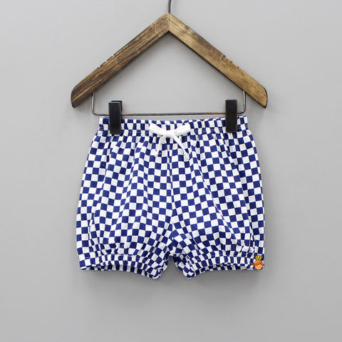 Navy Blue And White Checks Briefs