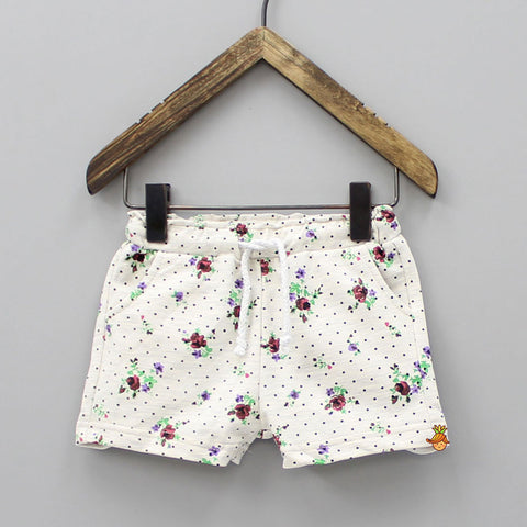 Off-White Floral Print Short