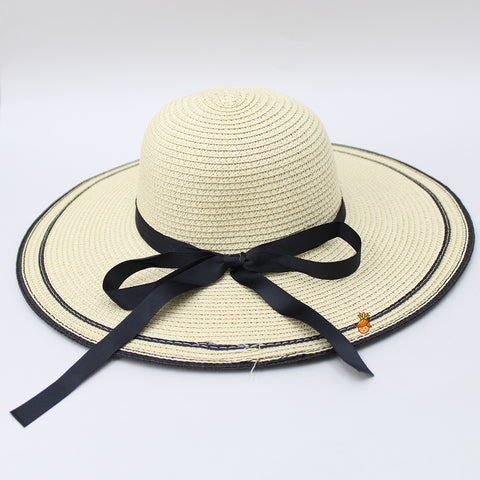 Cream Hat With Black Ribbon