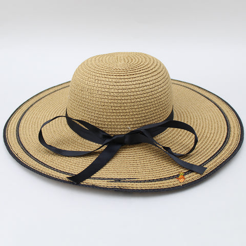 Light Brown Hat With Black Ribbon