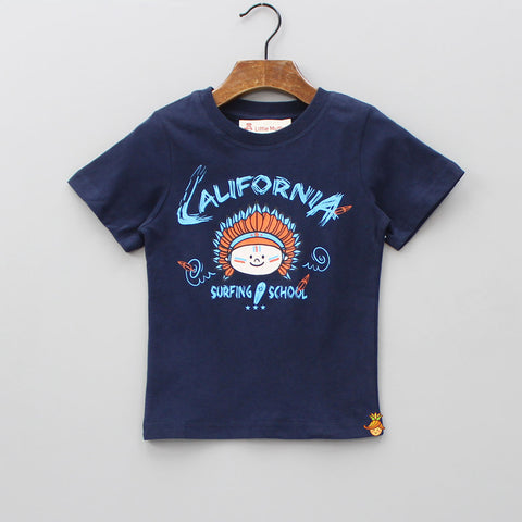 Navy Blue Printed T-Shirt