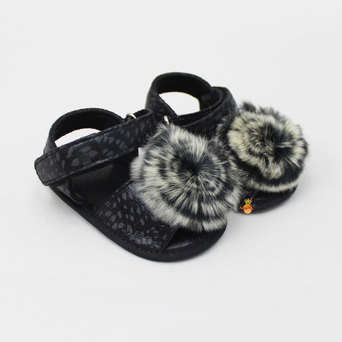 Furry Black Sandal