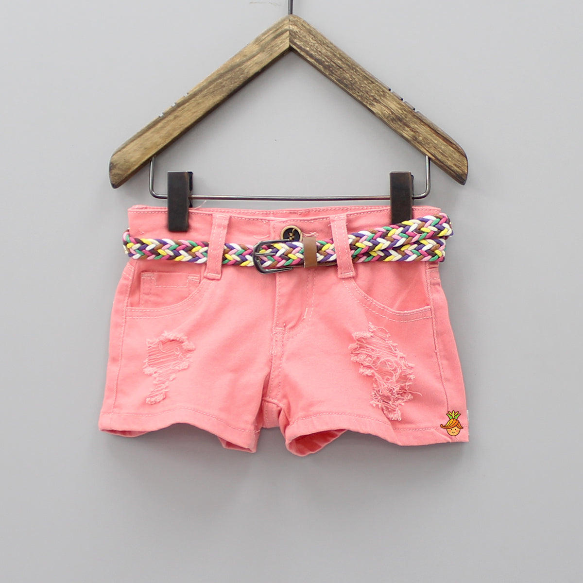 Peach Shorts With Multicolor Belt