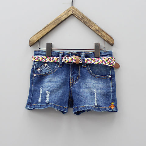 Blue Ripped Shorts With Belt