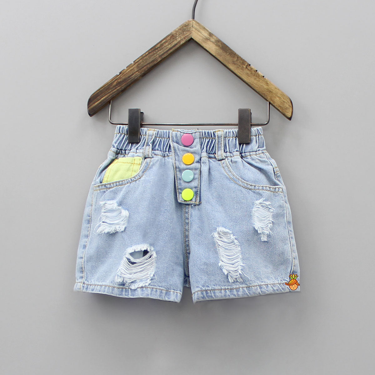 Denim Rugged Shorts With Colourful Show Buttons