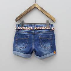 Blue Ripped Shorts With Folded Hem