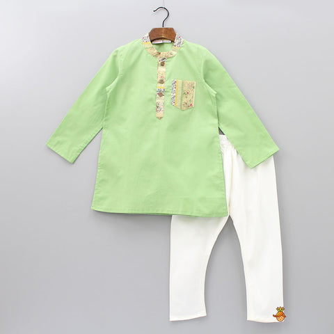 Pre Order: Green Kurta And Off White Pyjama