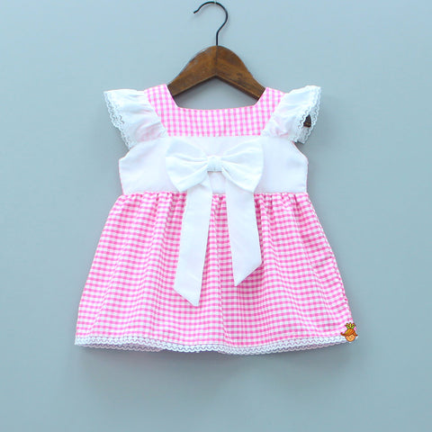 aab0722827bf Cap Sleeves Big Bow Applique Checkered Dress - Pink