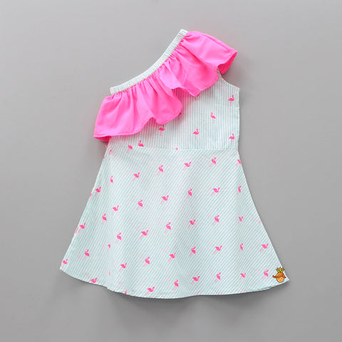 Flamingo Print One-Shoulder Dress
