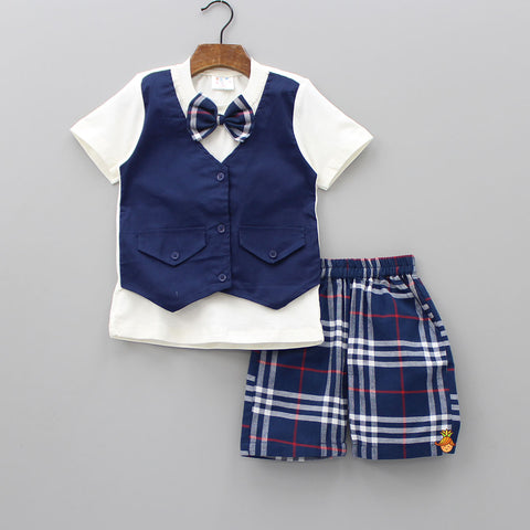 Navy Half Attached Waistcoat Bow T-shirt And Shorts Set