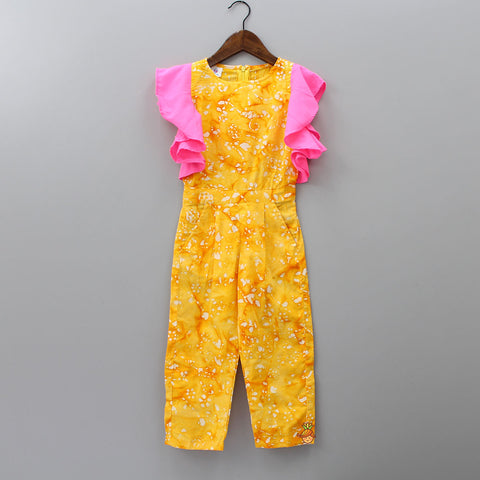 Yellow Frill Sleeves Jumpsuit
