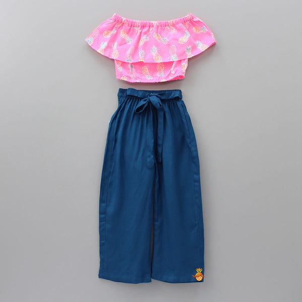 Neon Pink Off-Shoulder Top With Prussian Blue Pants