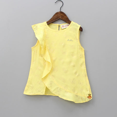 Yellow Frilly Butterfly Top