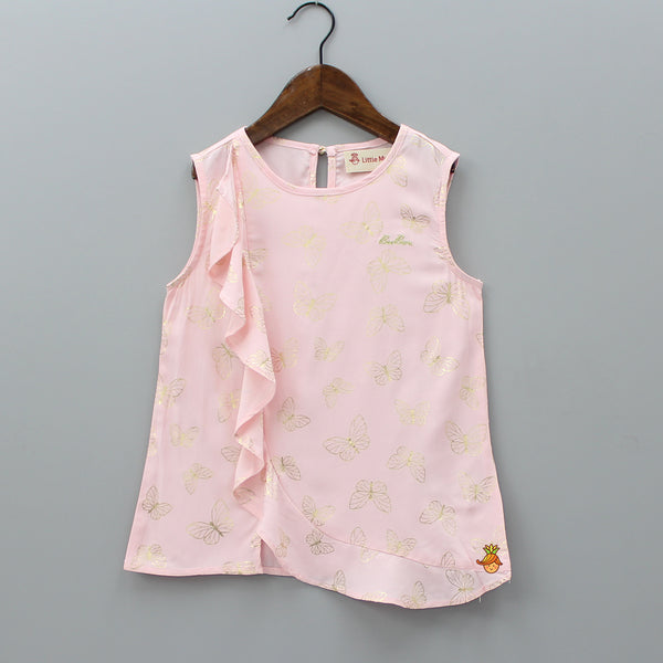 Light Pink Frilly Butterfly Top