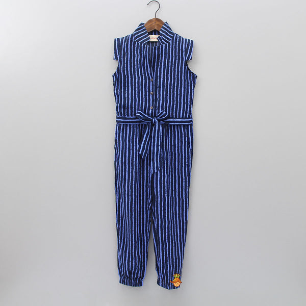 Black And Blue Stripy Jumpsuit