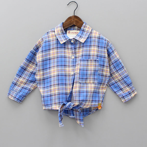 Blue Checks Top With White Inner