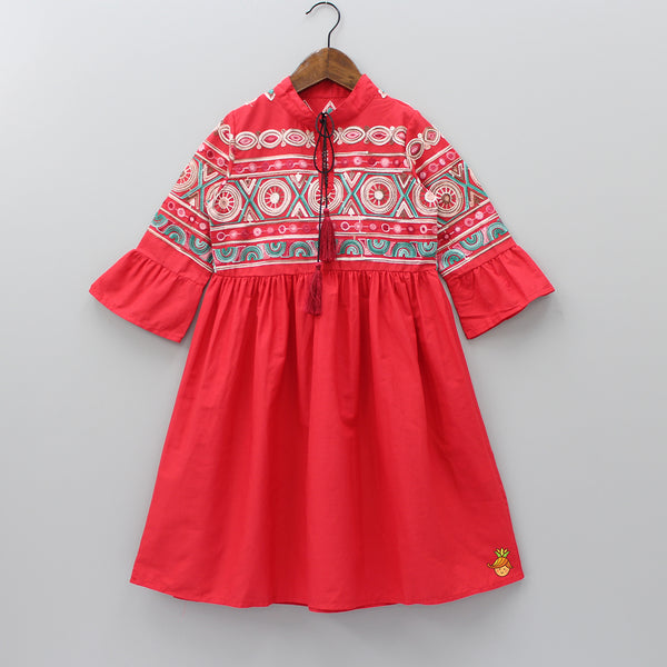 Red Embroidered Kurti