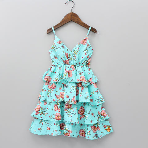 Aqua Blue Layered Floral Print Knee Length Dress