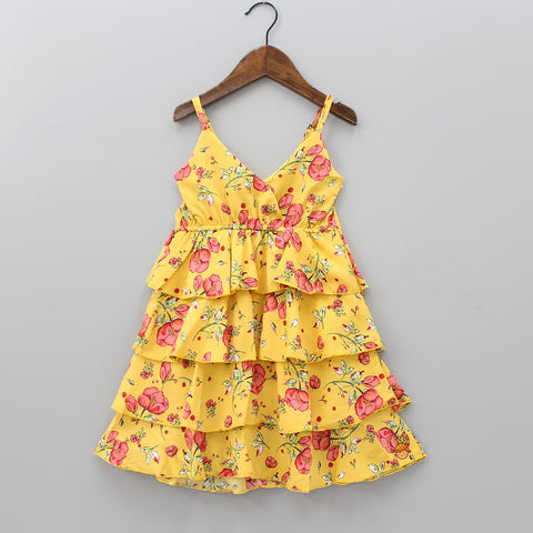 Yellow Layered Floral Print Knee Length Dress