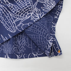 Navy Blue Plants Printed Set